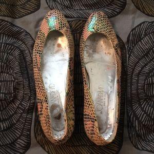 Joan & David iridescent snake print shoes